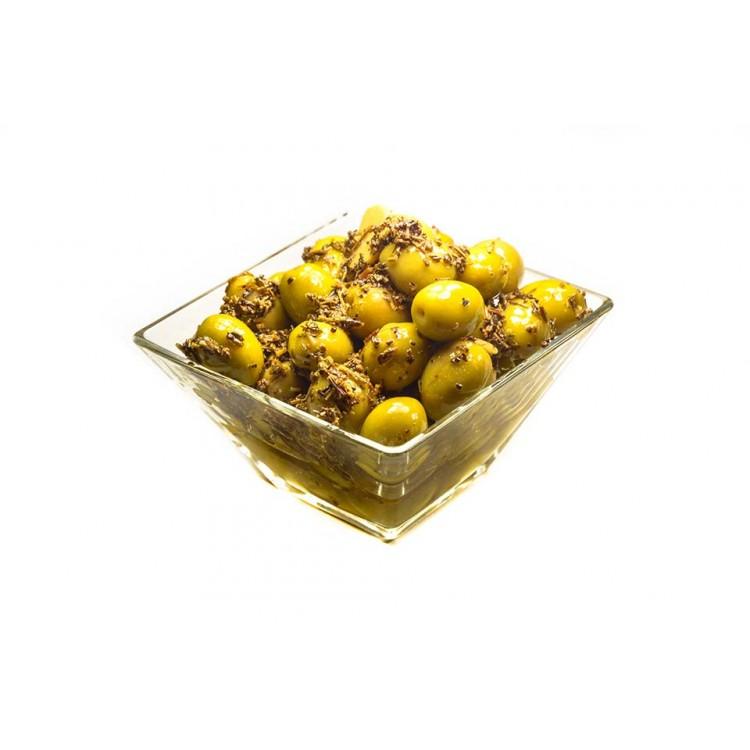 Olives Vertes Dénoyautées Au Basilic (Barquette)